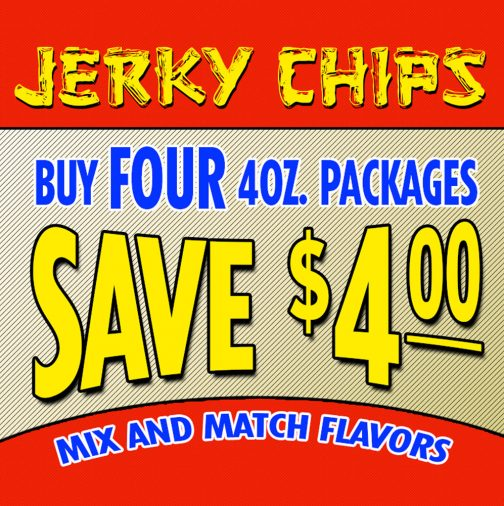 Four 4oz. Packages of Jerky Chips 1